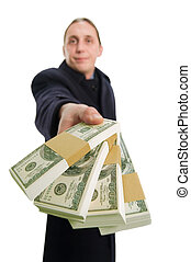 Dollars - Businessman holding and giving his money for...