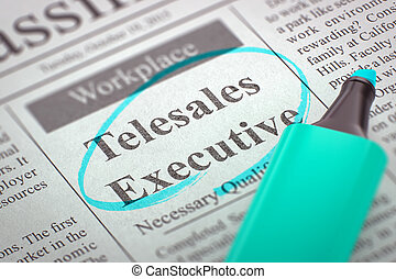 Job Opening Telesales Executive. - Newspaper with...