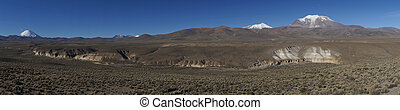 Volcanos on the Altiplano of Chile - Panorama of snow...