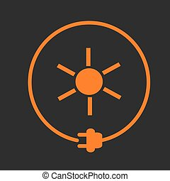 Sun as energy source - Sun in a circle with plug as symbol...