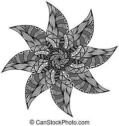 Black Rosette ornament. Isolated on white. Vector...