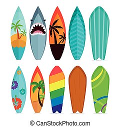 Set of surfboards - Set of different surfboards on a white...