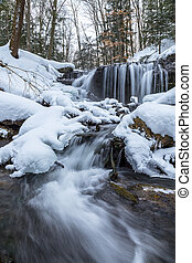 Weaver's Creek Falls Winter View in Owen Sound, Ontario,...