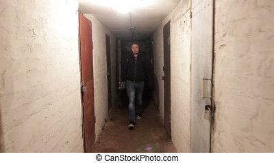 Thief in dark cellar stadycam