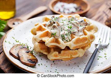 Savory waffles with corn and mushroom sauce - Savory waffles...