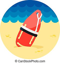 Torpedo rescue lifeguard buoy icon. Summer - Support, help...