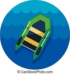 Inflatable boat icon. Summer. Vacation - Inflatable boat...