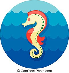 Sea Horse icon Summer Vacation - Sea Horse vector icon Beach...
