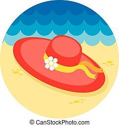 Beach hat icon Summer Vacation - Beach hat vector icon Beach...