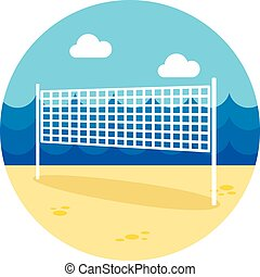 Volleyball net beach sport icon. Summer. Vacation -...