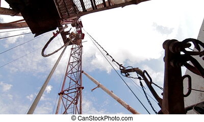 drilling rig Descent tubes with a crane - drilling rig....