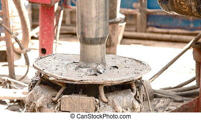 Drill pipe rotating in the rotary table drilling