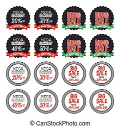 Set of labels with text for sales purposes on a white...