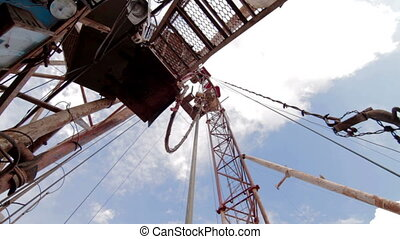 drilling rig Descent tubes with a crane - drilling rig...