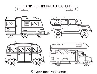 RV Campers and Trailer in Thin Line Art