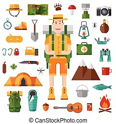 Print - Backpacker icons set. Camping kit of hike outdoor...