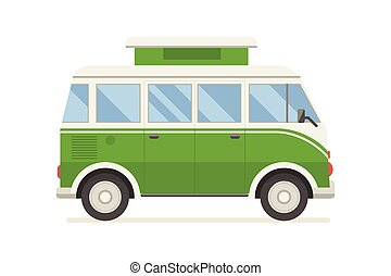 CM-artboard - Vintage green travel bus. Camper cartoon van....