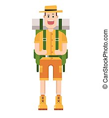 Print - Cartoon happy hiker with large backpack. Vector...