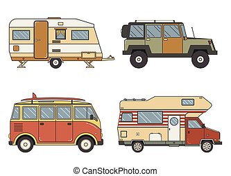 linear-set - RV travel auto set. Camping trailer family...