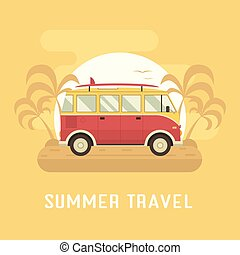 Travel Omnibus on Summer Beach - Surfing bus on palm beach....