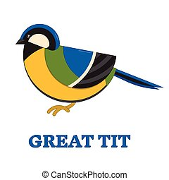 Grea Blue Tit Line Flat Icon - Great blue tit bird line art...