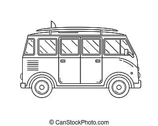 Travel Omnibus Thin Line Icon - Travel omnibus family camper...