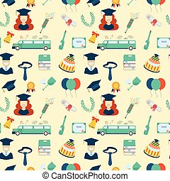 Graduation Elements Seamless Pattern Background