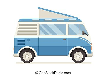 CM-artboard - Vintage blue travel bus. Camper cartoon van....