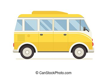 CM-artboard - Vintage yellow travel bus. Camper cartoon van....