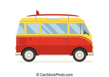 CM-artboard - Vintage red travel bus. Surfing cartoon van....
