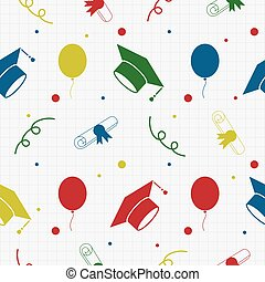 Seamless Graduation Celebration Pattern Background -...