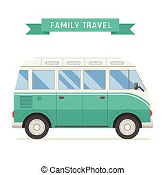 Family Travel Bus in Flat Design - Vintage green family bus....
