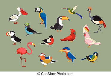 Popular Birds Icon Set - Flat design vector birds icon set....