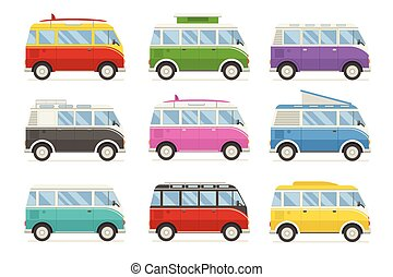 CM-artboard - Colorful camping bus collection. Travel vans...