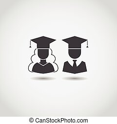 Graduation Man and Woman Icons