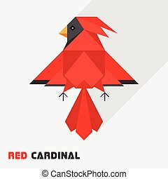 Red Cardinal Bird Triangle Low Polygon Style - Abstract...