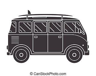 Travel Omnibus Outline Silhouette Icon - Travel omnibus...