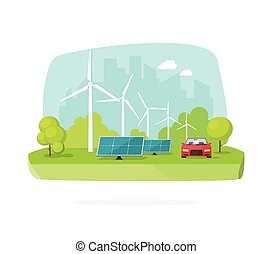 Green energy concept, wind and solar power on nature scene