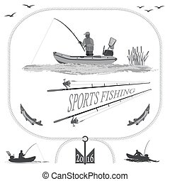 Healthy life in nature and fishing - A fisherman in a boat...