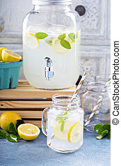 Fresh citrus lemonade in beverage dispenser