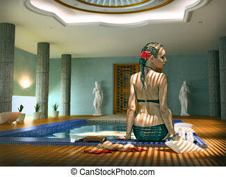 woman in spa - beautiful woman in luxury spa interior (Photo...