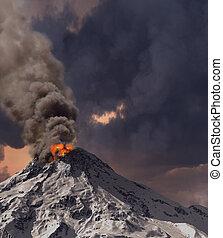 erupting of volcano 3D rendering