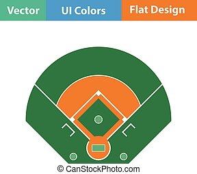 Baseball field aerial view icon. Flat design. Vector...