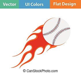 Baseball fire ball icon. Flat design. Vector illustration.