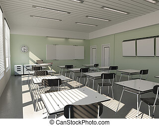 classroom - the interior of classroom 3D rendering