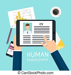 Hand holding a digital tablet with CV resume. Job interview...