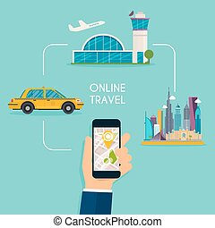 Booking online flights and taxi responsive web design template.  Flat design modern vector illustration concept.