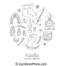 Hand drawn doodle Russia travel set.