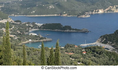 The view on a bay in a heart shape and beach, Corfu, Greece