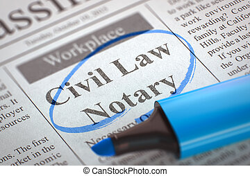 Civil Law Notary Job Vacancy. - Newspaper with Small...